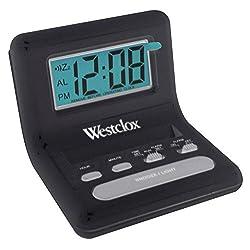Westclox Travel Alarm Clock Black 0.8 Lcd 2 Aaa Batteries