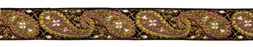 Dove of the East Ginger Mango Paisley Brocade Ribbon for Scrapbooking, 1-Yard