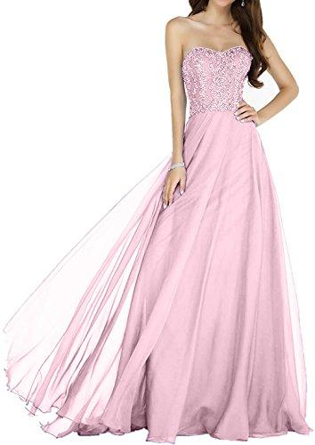 Charmant Blau Partykleider Damen Ballkleider Rosa Festlichkleider Herzformig Chiffon Abendkleider Royal Langes rErOwqC