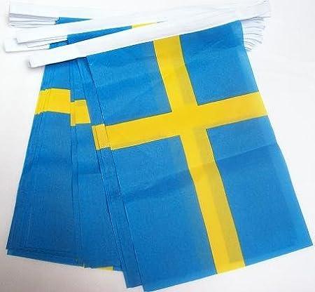 AZ FLAG Guirnalda 6 Metros 20 Banderas de Suecia 21x15cm - Bandera Sueca 15 x 21 cm - BANDERINES: Amazon.es: Hogar