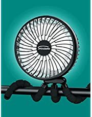 10000mAh Portable 6-Inch Battery Operated Clip On Fan with LED Lights, 63 Hours Max Working Time, USB Desk Fan with Flexible Tripod 360 Rotatable, Personal Fan for Stroller Camping Tent Treadmill …