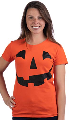 Jack O' Lantern Pumpkin Women's T-Shirt/Easy Halloween Costume Fun Tee-Orange-Medium -
