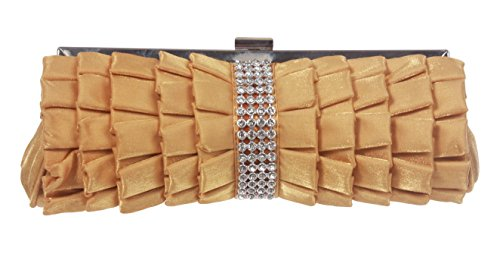 Rhinestone Band Trimmed Gathered Ribbon Evening Clutch Color: Gold
