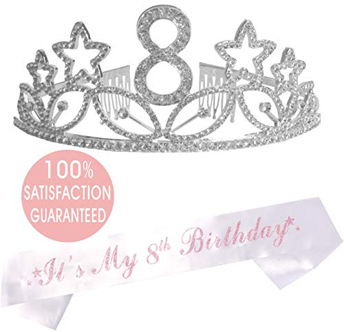- 8th Birthday Tiara and Sash| Happy 8th Birthday Party Supplies|