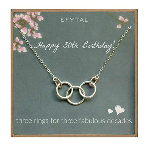 EFYTAL Happy 30th Birthday Gifts for Women Necklace, Sterling Silver 3 Rings Three Decades Necklaces Gift Ideas]()