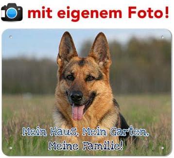 UV-best/ändig /& Wetterfest mein-tierschild.de Blech Hundewarnschild//Hundeschild mit EIGENEM Foto