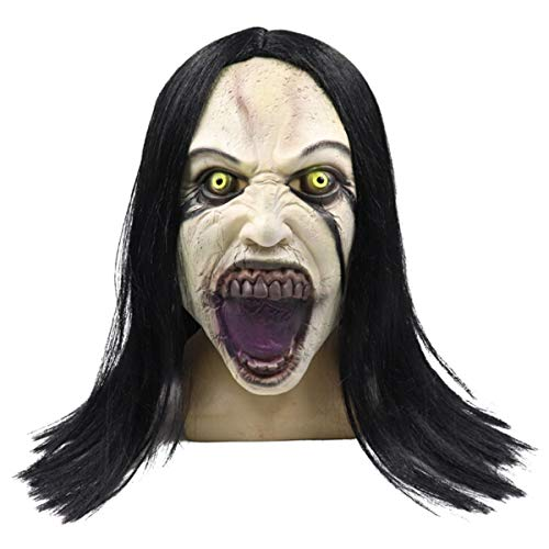 Scariest Female Halloween Costumes Ever (Wig Female Ghost Style Mask Melting Face Adult Latex Costume Halloween Scary Halloween Cosplay Costume Props(2,United)