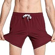 MaaMgic Mens Solid Swim Trunks Quick Dry 4 Way Stretch Mesh Lining Swimwear Bathing Suits