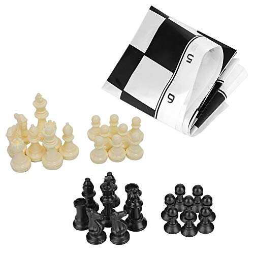 - Chess and Checkers Rug Set, Portable Plastic International Chess Medieval Entertainment Board Game Set Great Gift Idea for Boys and Girls/Fun Birthday Party Activity (White & Black)