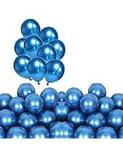 بالونات زرقاء معدنية للحفلات 60 قطعة من بالونات اللاتكس السميكة من الكروم 12 بوصة لخطوبة أعياد الميلاد والذكرى السنوية وأعياد الميلاد والنزهات أو أي ديكورات حفلات الأصدقاء والعائلة