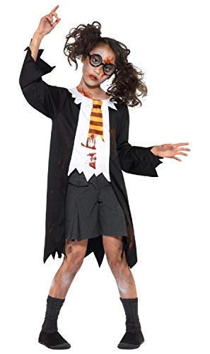 Boys Girls Childrens Dead Corpse Zombie Student School Boy Girl Scary Book Film Halloween Fancy Dress Costume Outfit 4-12 Years (10-12 Years)]()