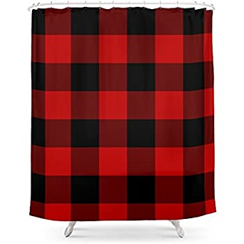 Society6 Red And Black Buffalo Plaid Shower Curtain 71 By