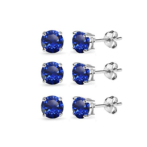 3 Pair Set Sterling Silver 6mm Created Blue Sapphire Round Stud Earrings for Teen - Studs Pendant 925 Silver