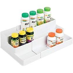 mDesign Adjustable, Expandable Plastic Vitamin Rack Storage Organizer Tray for Bathroom Vanity, Countertop, Cabinet - 3 Shelves - Holds Supplements, Medication - BPA Free, Food Safe - White