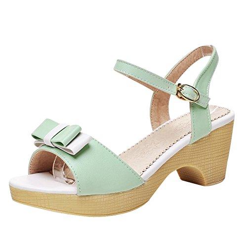 Carol Scarpe Moda Donna Carino Fibbia Caramelle Colore Dolce Archi Lolita Medio Sandalo Tacco Grosso Verde