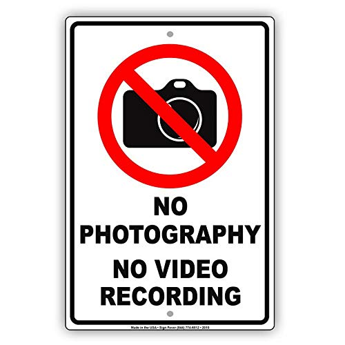 KPSheng No Photography No Video Recording with Graphic Restriction Caution Alert Warning Notice Aluminum Metal 12 x 8 Sign Plate from KPSheng