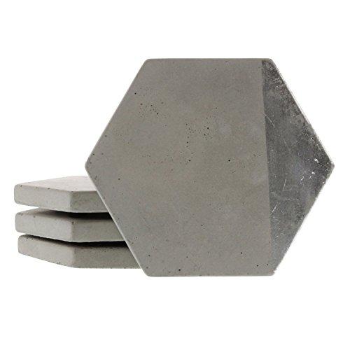 Cement Geometric Silver Stripe Coaster Set 8   Gray Indoor Outdoor
