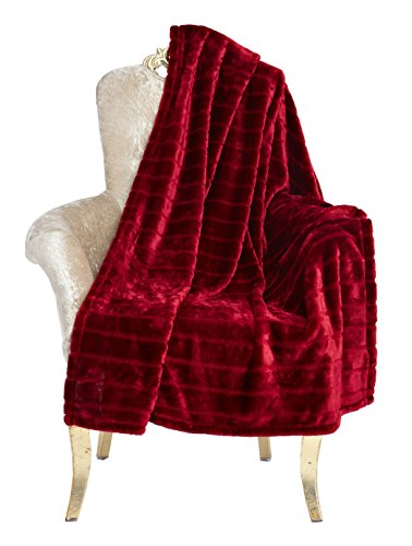 "Bertte Ultra Velvet Plush Super Soft Decorative Stripe Throw Blanket-50""x 60"", Burgundy"