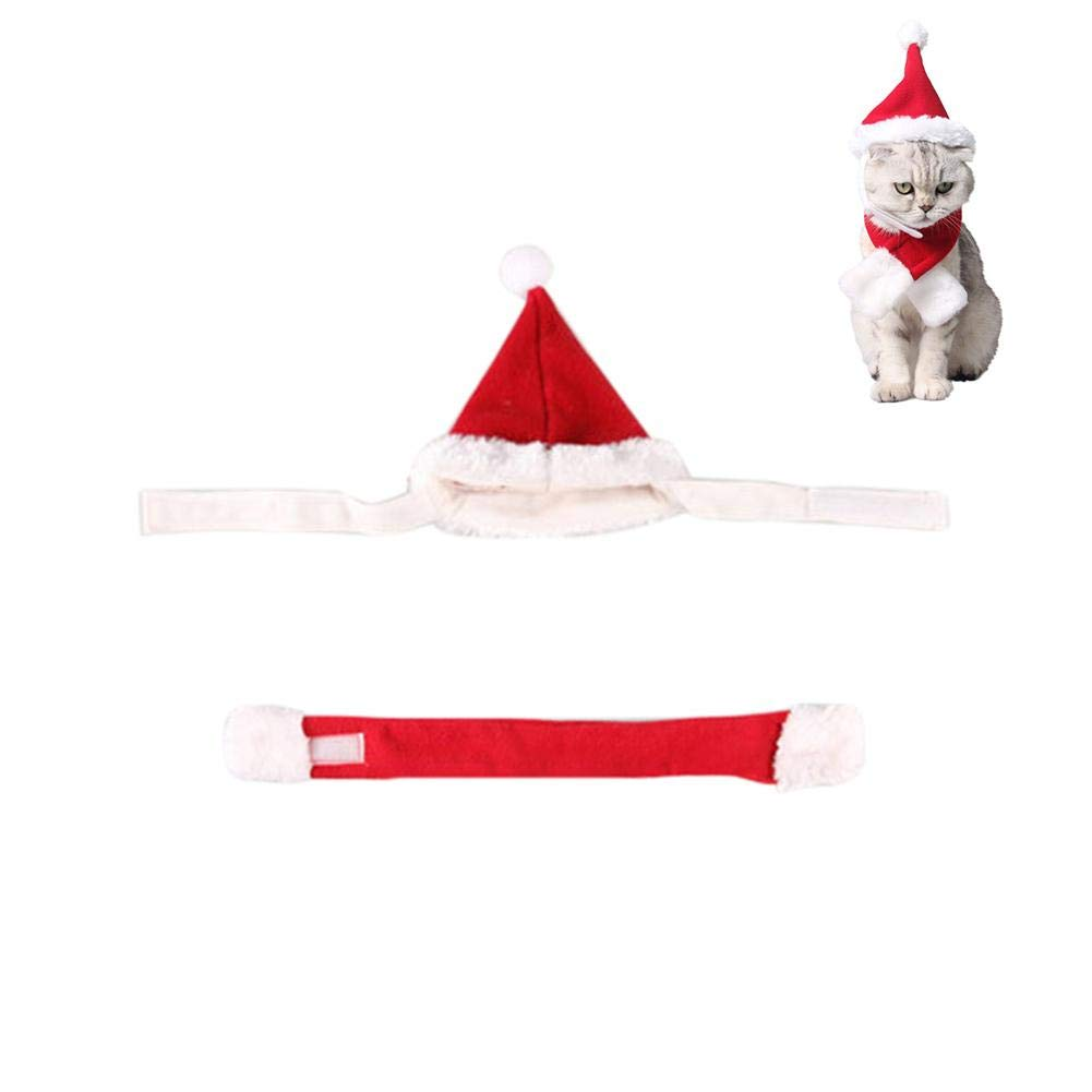 LIJUMN Adorabile caldo birichino Pet Cat Dog vestiti inverno costume set Natale sciarpa cravatta con cappello
