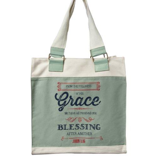 Fullness of His Grace Retro Canvas Tote Bag in Cadet Blue - John 1:16]()
