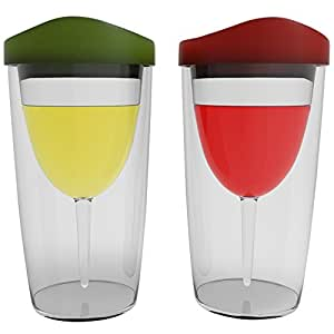 Wineova Plastic Wine Glasses with Lid, 10 Ounze, Set of 2, with Red and Green Drink-through Lid