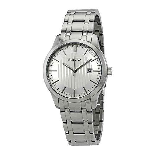 Men's  Silver Stainless-Steel Japanese Quartz Fashion Watch - Bulova 96B245