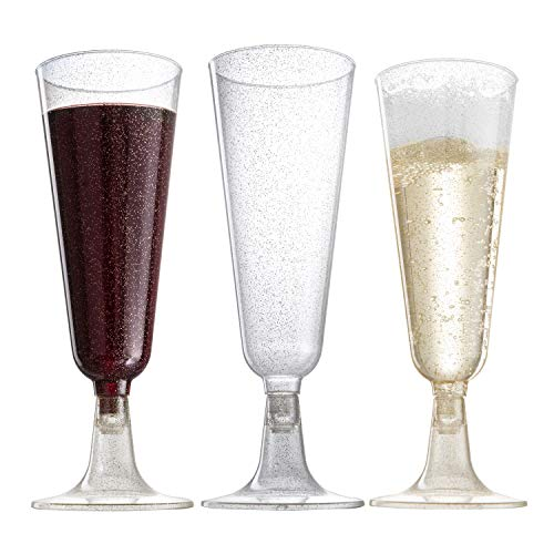 140 pc Gold Glitter Plastic Classicware Glass Like Champagne Wedding Parties Toasting Flutes Party Cocktail Cups ()
