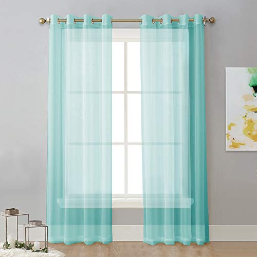 NICETWON Sheer Curtains Voile Drapes - Ring Top Window Treatment Curtain Panels for Sliding Door/Living Room/Patio (54
