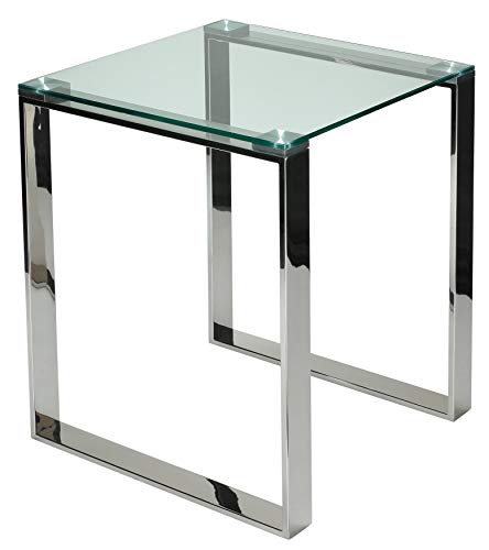 Cortesi Home Remi Contemporary Square Glass End Table with Chrome Finish (Glass End Table Cube)