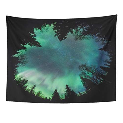 Emvency Tapestry Wall Hanging Green Sweden Northern Lights Aurora Borealis Above Forest Fisheye Finland 60