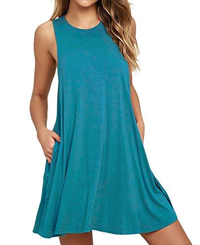 Unbranded* Women's Summer Casual Sleeveless Plain Swing Dress Sundress with Pockets Acid Blue Medium from Unbranded*