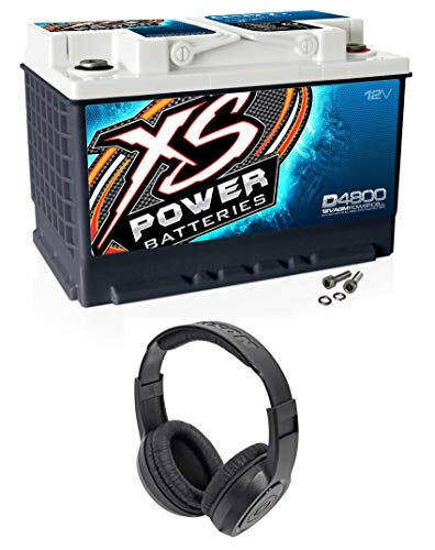 XS Power D4800 3000 Amp 12V Group 48 Power Cell Car Audio AGM Battery+Headphones
