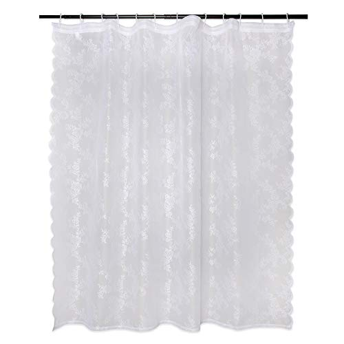 DII Oceanique Elegant, Modern Flower Blossom Lace Design, Water & Wrinkle Resistant, 100% Polyester, Machine Washable Shower Curtain, 72x72