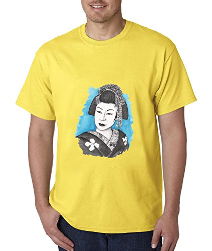 NEW York Night Geisha Painting Premium Ring Spun Cotton Heavy Weight Cotton Retro Fahion Graphic Crew Neck With Wicking Short Sleeve mens T-shirt Size S (Muji Press compare prices)