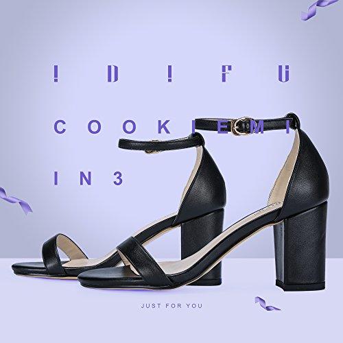 Mid Women's Block Pu Sandal Dress Toe IDIFU Cookie Black MI Heel IN3 Pump Open nqUdaYgw