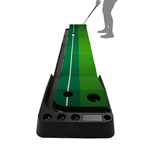 Golf Putting Mat (9.8 feet x 11.8 Inches), OUTAD Convenient Indoor Practice Training Aid Mat with Two Holes Ball Return System