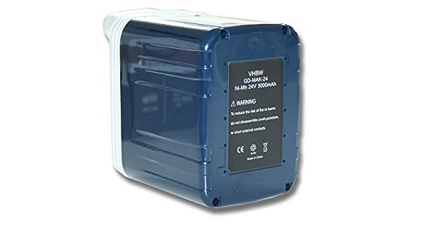 vhbw Batería NiMH 3000mAh (24V) para Herramientas Makita BJR240SJE, BJR240WA, BJR240WAE, BLS712 como 193127-4, B2417, B2420, B2430, BH2433.