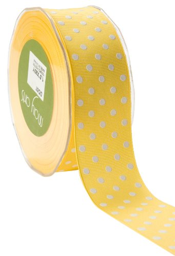 - May Arts 1-1/2-Inch Wide Yellow Ribbon,White Polka Dot
