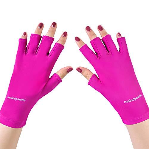 MelodySusie UV Shield Glove Gel Manicures Fingerless Anti UV Glove, Protect Hands from UV Light with LED UV Gel Polish Drying Lamp, Elegant Amethyst