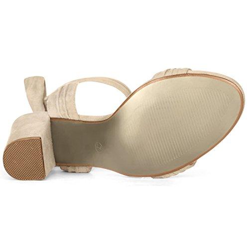 Women Allegra K Beige Sandals Heel Tie Ankle Chunky 4vZvOqw