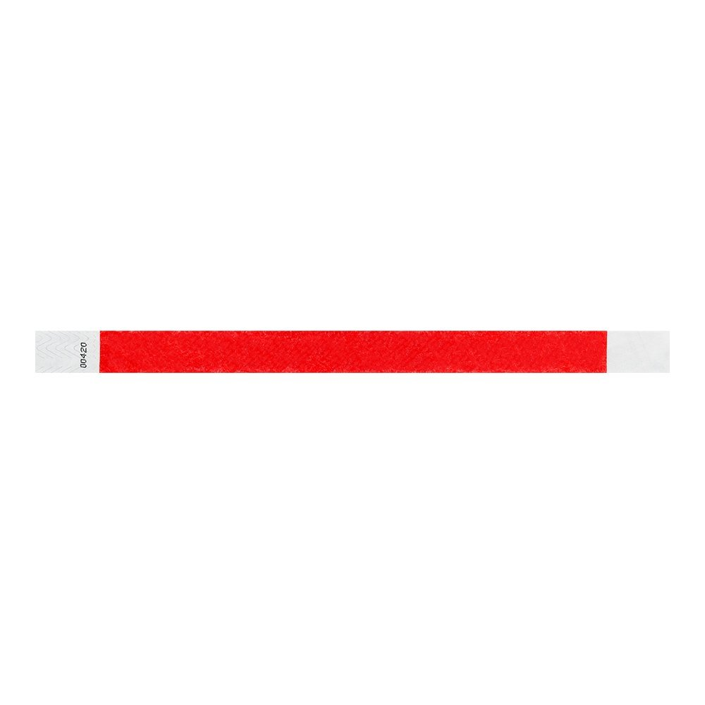 WristCo Neon Red 3/4'' Tyvek Wristbands - 500 Pack Paper Wristbands For Events by Wristco (Image #3)