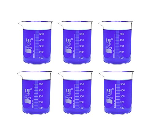Eisco Labs Beaker - 600mL, Borosilicate Glass, 50mL graduation Low form - Pack of 6 ()