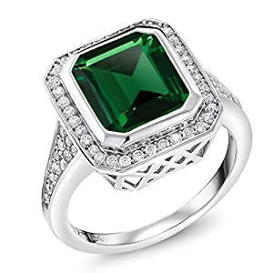 Gem Stone King 925 Sterling Silver Green Nano Emerald Women's Ring (5.00 Ct, Emerald Cut, Available 5,6,7,8,9)