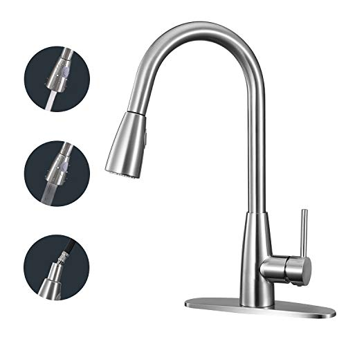 ANZA Kitchen Faucet Single Handle High Arc Faucet with Pull Down Sprayer, Modern Commercial Dual Function Kitchen Sink Faucet with 2 Spray Modes, 360°Swivel High Arc Gooseneck, Corrosion & Rust-Resist ()