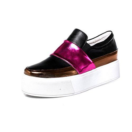 Amoonyfashion Kvinna Mjuk Materialutdrag På V Sluten Tå Kattunge Klackar Pumpar-skor Röda
