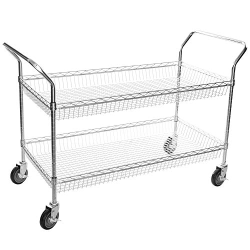 Chrome Open Base Utility Cart - TableTop King Chrome Two Basket Utility Cart - 24
