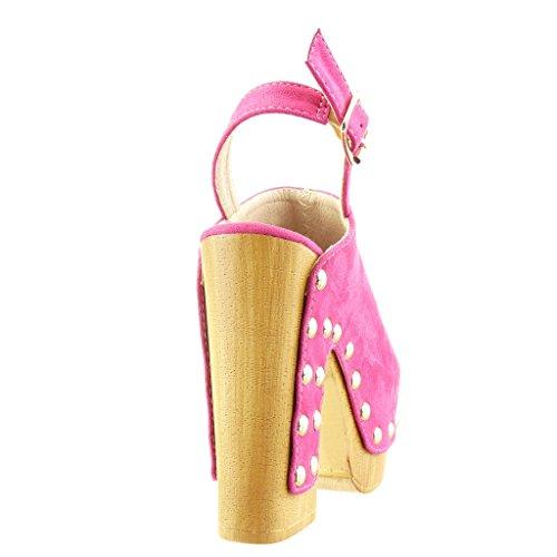Angkorly - Scarpe da Moda zoccoli sandali zeppe donna borchiati legno Tacco a blocco tacco alto 12.5 CM - Fushia