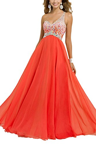 Artie 2015 A-line One Shoulder Long Chiffon Prom Dress with Beads and Crystals (14, Aquamarine)