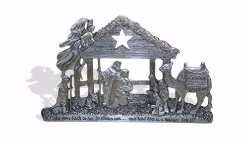 Pewter-Finished Nativity Scene (Luke 2:7 ESV)
