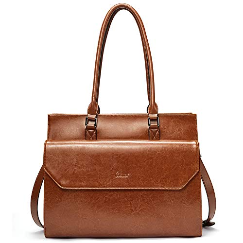 - Briefcase for Women Oil Wax Leather Vintage 15.6 Inch Laptop Business Shoulder Bag Brown